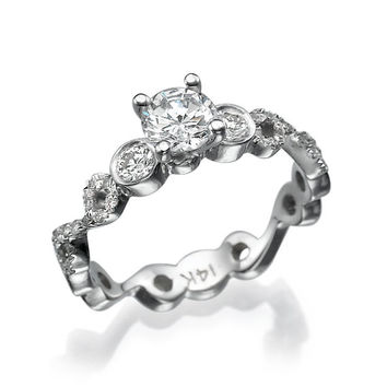 Eternity Gold and Diamond Engagement Ring in 14k White Gold Prong and halo setting bridal jewelry