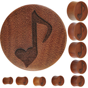 Organic Sawo Wood Heart Music Note Plug