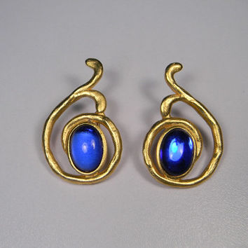 Coupon code In Banner, Dauplaise, Modern, Vintage Earrings, Bright Gold Tone,  Blue, Clips, 80s