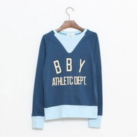 Cotton Blue long sleeve round neck letter print loose cotton sweatshirt  style zz90902601 in  Indressme