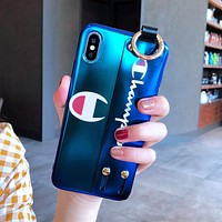 Champion tide brand iphonex couple models wristband with mobile phone shell soft shell blue