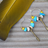Tiny Dancer Earrings  Sterling Sliver hoop Arrow Turquoise Chunks Seashell Earrings | Made to order Great Gift