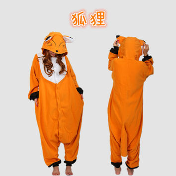 2015 New Fox Animal Cosplay Pajamas Onesuit women Costume One Piece Adult Pyjamas Sleepwear for Women Men
