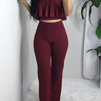 Red Crop Two Piece Bandeau Off-Shoulder Ruffle Long Jumpsuit
