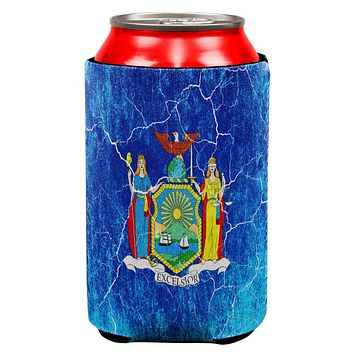 New York Vintage Distressed State Flag All Over Can Cooler
