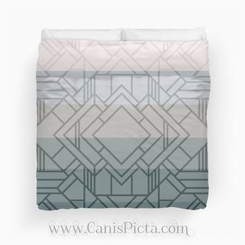 Gatsby Ombre Duvet Twin King Queen size Great Art Deco Roaring 20s Twenties Print Bedroom Room Decor Decorative Geometric Pattern Grey Green