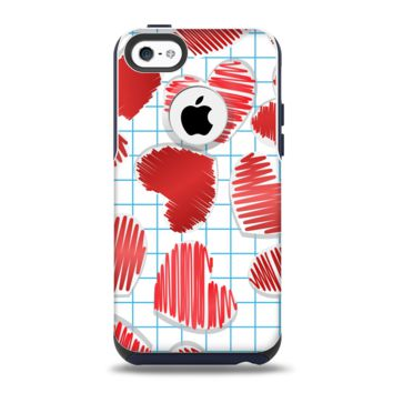The Colored Red Doodle-Hearts Apple iPhone 5c Otterbox Commuter Case Skin Set
