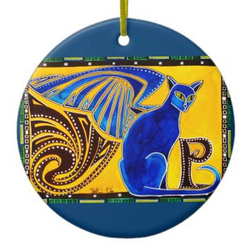 Winged Feline Hybrid Warrior Cat Design Ceramic Ornament