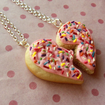 polymer clay sugar cookie with rainbow sprinkles heart best friend necklaces pink frosting friend ship bff valentine's day