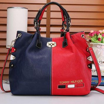 """Tommy Hilfiger"" Personality Women Fashion Multicolor Rivet Single Shoulder Messenger Bag Women Big Handbag G"
