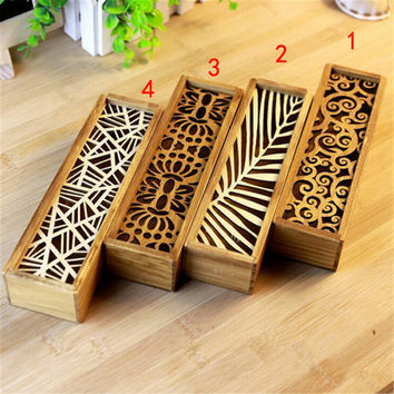 Convenient Hollow Wood Pencil Case Storage Box Wooden Box Pencil holder School Gift