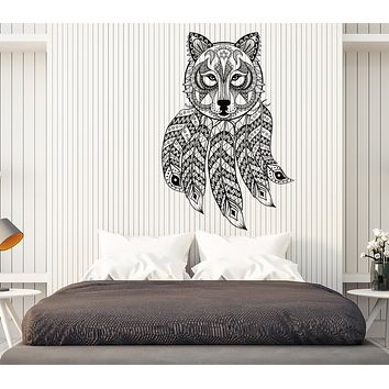 Vinyl Decal Wall Sticker Dreamcatcher Wolf Ethnic Ornament Bedroom Decor n980