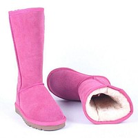 """""""UGG"""" Women male Fashion Wool Snow Boots Rose red F"""