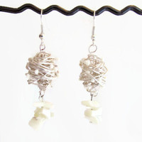 Shell drop earrings, wire wrapped with white seed beads and shell chips, silver plated and lead and nickel free.