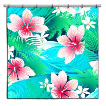 Aqua and Pink Hibiscus Hawaiian Shower Curtain