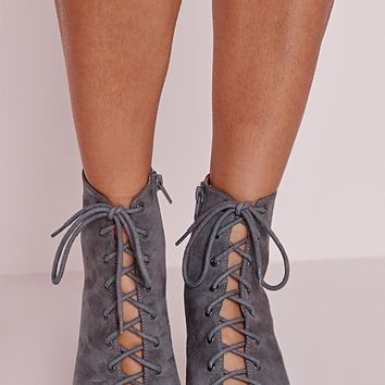 Missguided - Lace Up Heeled Boots Grey