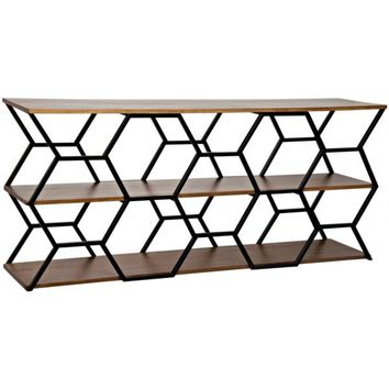 Diore Console, Metal and Walnut