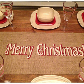 "Burlap Table Runner 12"", 14"", & 15' wide Christmas runner"
