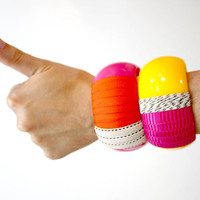 Bright Pink and Yellow Chunky Plastic Bangle Bracelets  // big, bold, neon, black and white