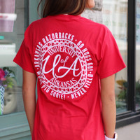 University of Arkansas Monogram Tee {Red}