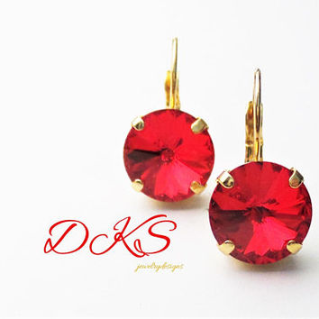 Red and Gold, Swarovski 12mm Rivoli Lever Back Drop Earrings,Bridal, Swarovski Jewelry, Great Gift, DKSJewelrydesigns, FREE SHIPPING