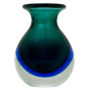 NOVICA Decorative Hand Blown Glass Vase, Multicolor, 'Ocean Waves'