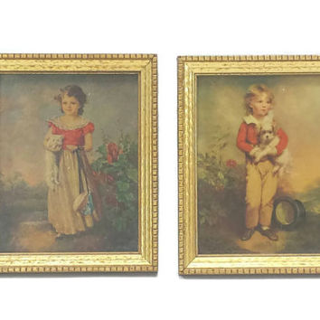 Vintage Children Portraits, Lithograph Print, Antiqued Gold Frames, Mid Century Art, Young Boy with Dog, Little Girl & Cat, French Victorian