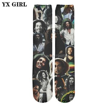 YX GIRL 2018 summer New Fashion Hip hop style Knee High Socks Reggae Bob Marley Print 3d Men's Women's Hipster Socks V-5