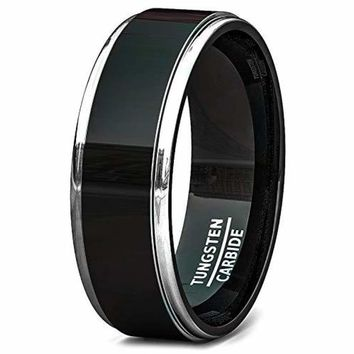Two Tone Black Tungsten Carbide Wedding Band With High Polished Raised Surface Step Edge - 8mm