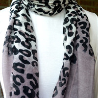 FREE US SHIPPING - Ombre Gray and White Cheetah Print Scarf - Animal Print - Maxi Scarf - Hijab