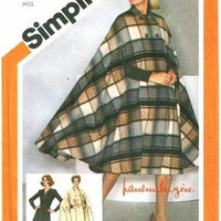 Simplicity 9799 Sewing Pattern 80s Retro Full Poncho Cape Raincoat V Neck Dress Full Figure Plus Size Bust 38
