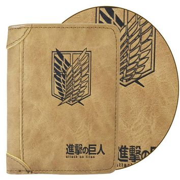 Cool Attack on Titan Japan Anime Scouting Legion   Embossed PU Leather Short Wallet Purse Bag Boys Girls Gift With SIM SD Card Slot AT_90_11