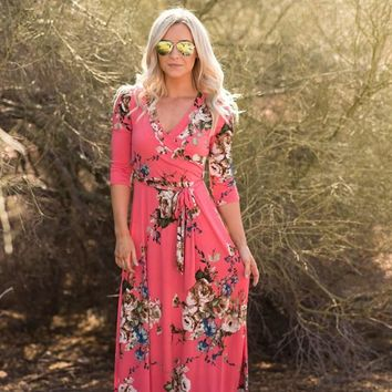 """Charlie"" Queensland Coral Floral Wrap Maxi Dress"
