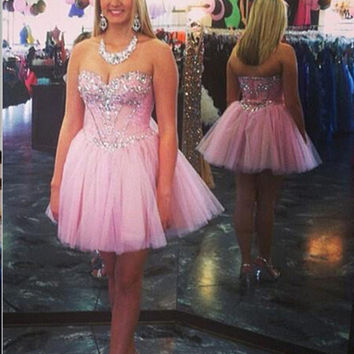 Pink Homecoming Dress Sweetheart Style