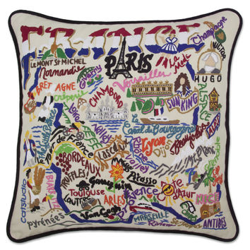 France Hand Embroidered Pillow
