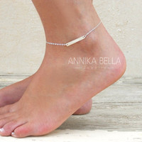 Silver Bar Anklet, Delicate Silver Ankle Bracelet, sterling silver Bar Anklet, Dainty Silver Anklet, Layering Anklet, Delicate Foot Jewelry.