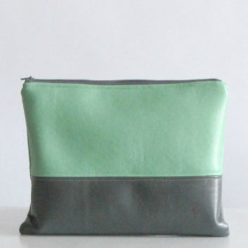 Colorblock Vegan Fake leather clutch bag Mint Green Grey