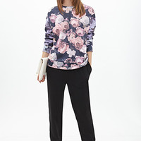 FOREVER 21 Rose Print Sweatshirt Charcoal/Pink