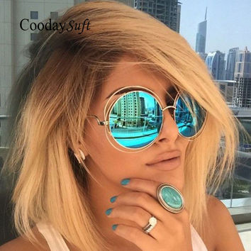 Coodaysuft Brand Designer Round Sunglasses Classic Oversized large Size Retro Sun Glasses Mirror Lady Female UV400 Hot sale