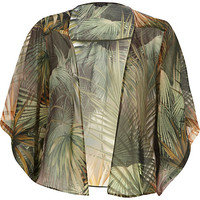 River Island Womens Green palm tree print boxy kimono