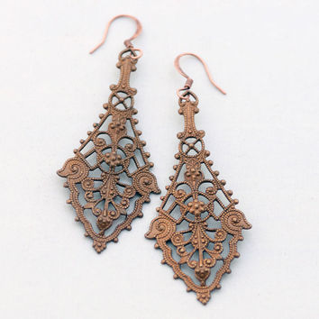 Autumn Earrings, Filigree Earrings, Victorian Inspired Earrings, Patina Earrings, Vintage Style Jewelry Gift for Her, JewelryFineAndDandy
