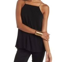 Black Bib Front Chain Strap Tank Top by Charlotte Russe