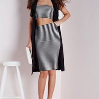Missguided - Ribbed Midi Skirt Black / White