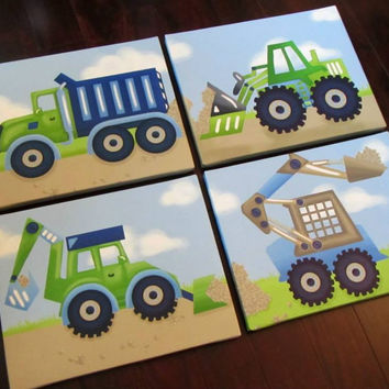 Set of 4 Blue and Green Construction Truck Boys Bedroom Stretched Canvases Kids Playroom Baby Nursery CANVAS Bedroom Wall Art 4CS007