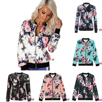 Women Biker Camo Floral Print Bomber Jacket Cool Coat