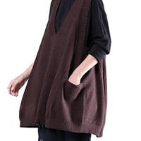 Women's Brown Sweater Vest V Collar Outerwear Loose Fitting