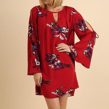 Red Floral Keyhole Bell Sleeve Dress (final sale)