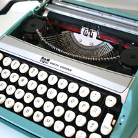 Vintage Turquoise Smith Corona Corsair Deluxe Typewriter-Reserved