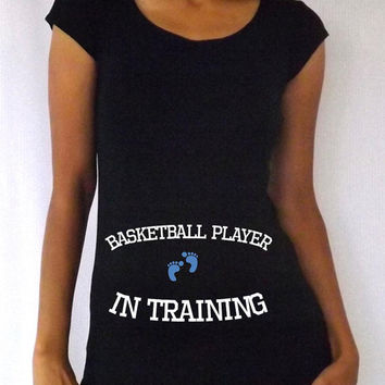 """Funny  Black Maternity Tshirt """" basketball player  in training""""  cap  sleeves Choose your Size M,L,XL"""
