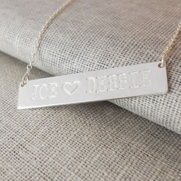 Two Names Necklace,Lovers Name Bar Necklace,Silver Heart Bar Necklace,Engraved Bar Necklace,Nameplate Bar Necklace,Silver Bar Necklace